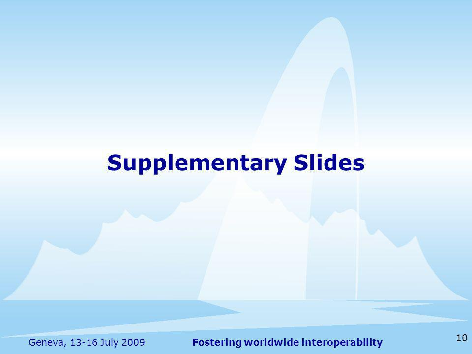 Fostering worldwide interoperability 10 Geneva, 13-16 July 2009 Supplementary Slides
