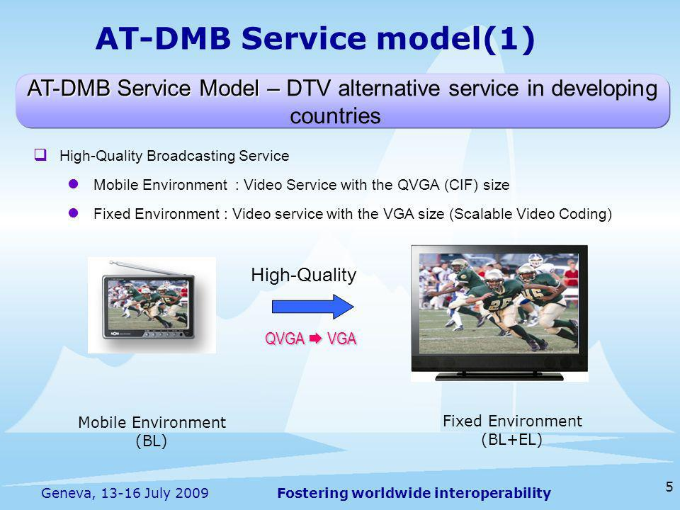 Fostering worldwide interoperability 5 Geneva, 13-16 July 2009 AT-DMB Service model(1) AT-DMB Service Model – AT-DMB Service Model – DTV alternative service in developing countries High-Quality Broadcasting Service Mobile Environment : Video Service with the QVGA (CIF) size Fixed Environment : Video service with the VGA size (Scalable Video Coding) High-Quality QVGA VGA Mobile Environment (BL) Fixed Environment (BL+EL)