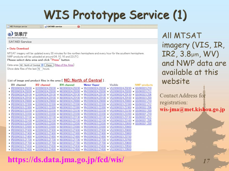 17 WIS Prototype Service (1) All MTSAT imagery (VIS, IR, IR2, 3.8 μm, WV) and NWP data are available at this website https://ds.data.jma.go.jp/fcd/wis