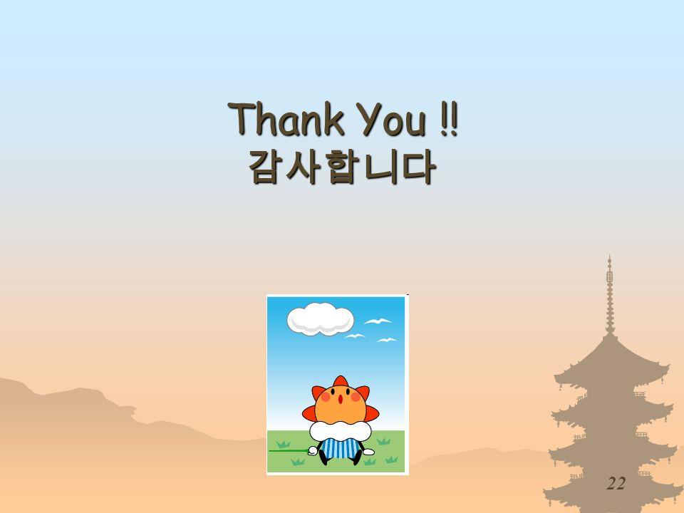 22 Thank You !! Thank You !!