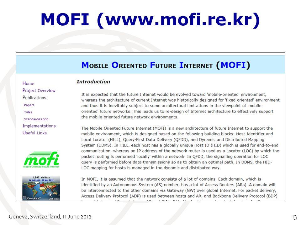 MOFI (www.mofi.re.kr) Geneva, Switzerland, 11 June 201213