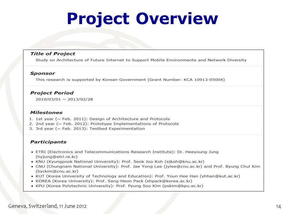 Project Overview Geneva, Switzerland, 11 June 201214