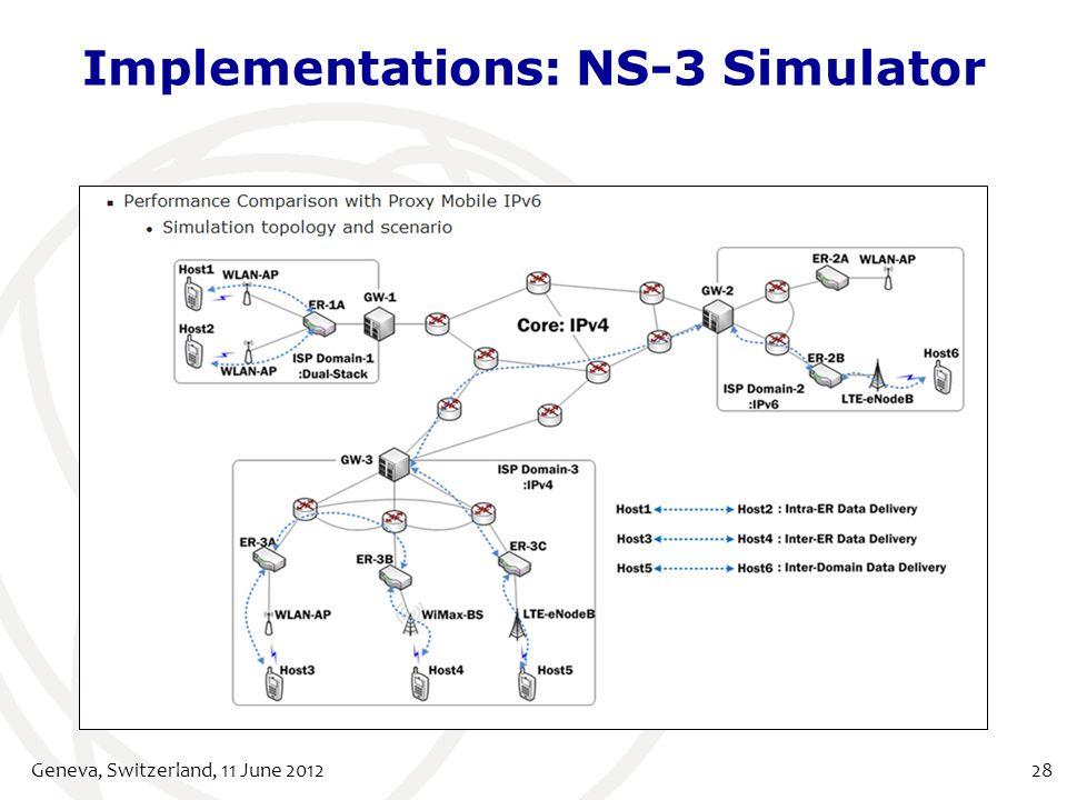 Implementations: NS-3 Simulator Geneva, Switzerland, 11 June 201228