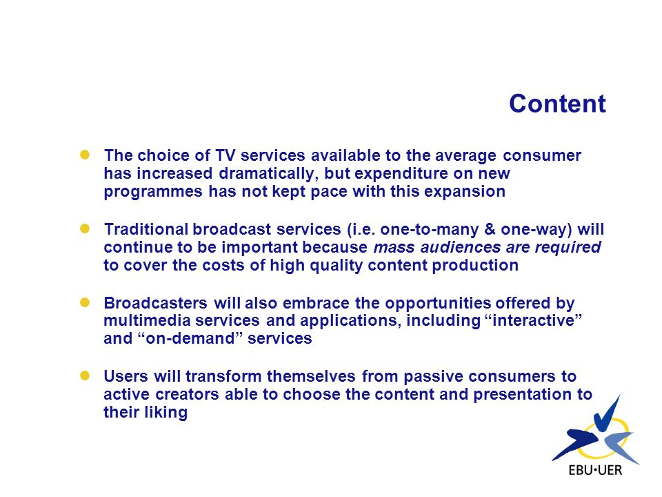 Content The choice of TV services available to the average consumer has increased dramatically, but expenditure on new programmes has not kept pace wi