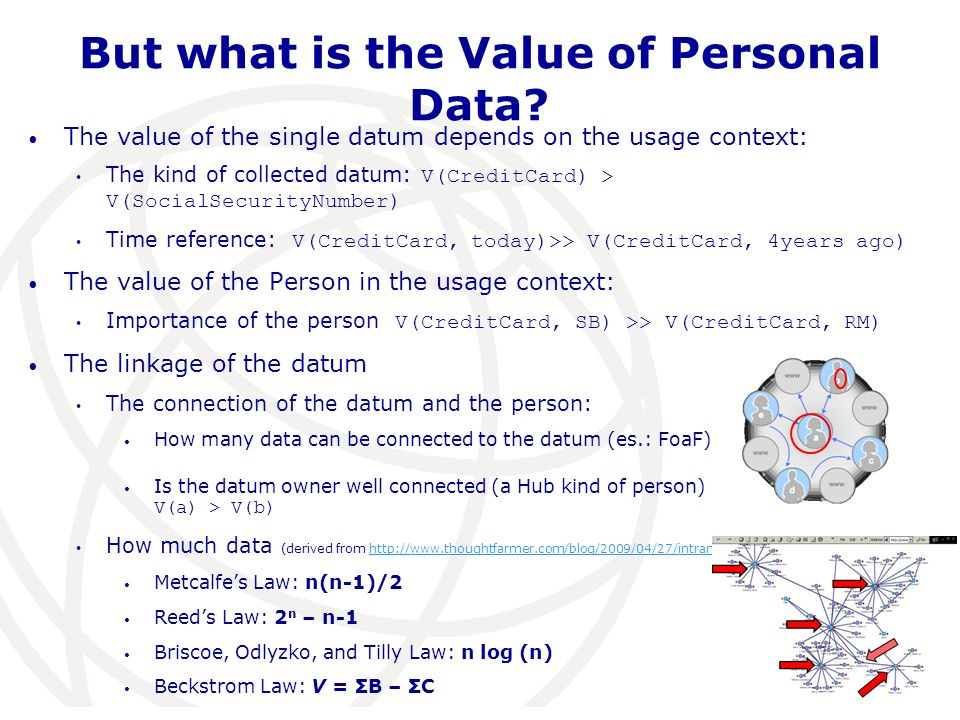 But what is the Value of Personal Data? The value of the single datum depends on the usage context: The kind of collected datum: V(CreditCard) > V(Soc
