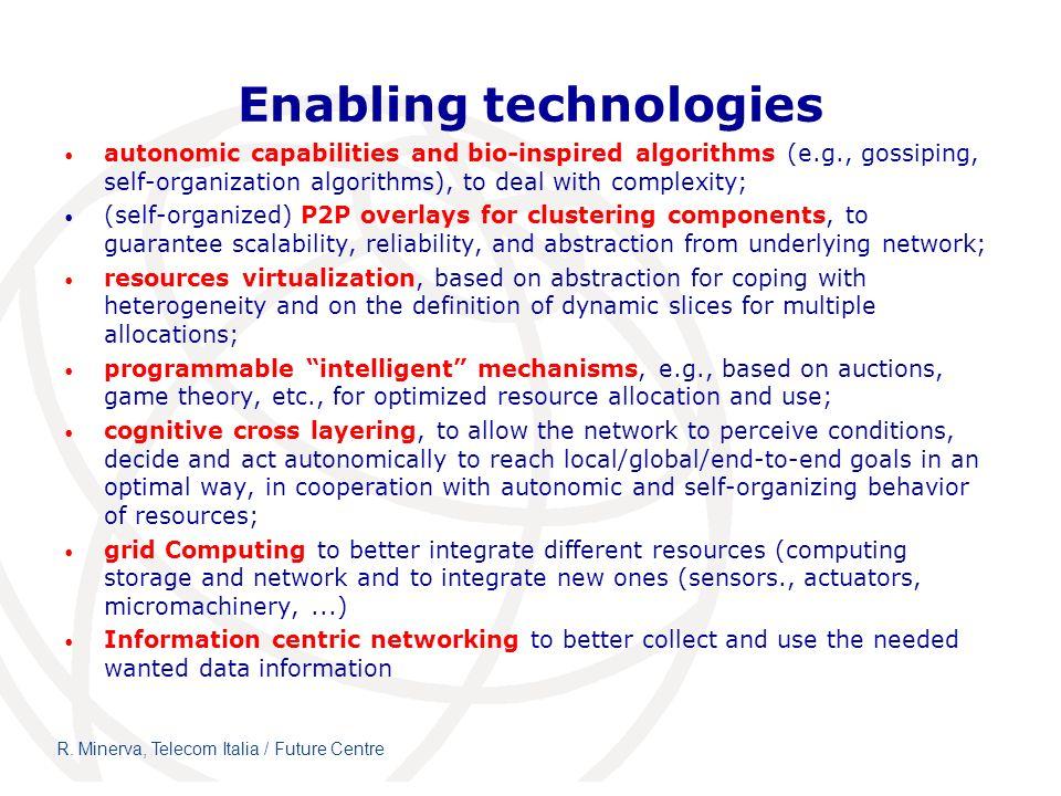 R. Minerva, Telecom Italia / Future Centre Enabling technologies autonomic capabilities and bio-inspired algorithms (e.g., gossiping, self-organizatio