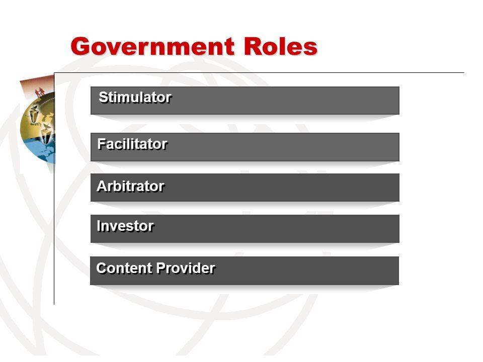 Government Roles Facilitator Investor Arbitrator Stimulator Content Provider