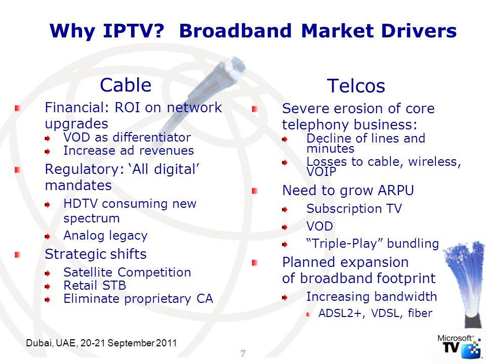 18 MarketDynamics Forces Shaping IPTV FutureRegulation MarketOpportunity Broadband IP Networks MooresLaw Content, Ad Models Better Video Compression