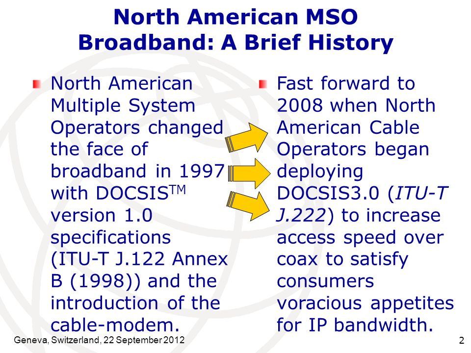 Geneva, Switzerland, 22 September 2012 2 North American MSO Broadband: A Brief History North American Multiple System Operators changed the face of br