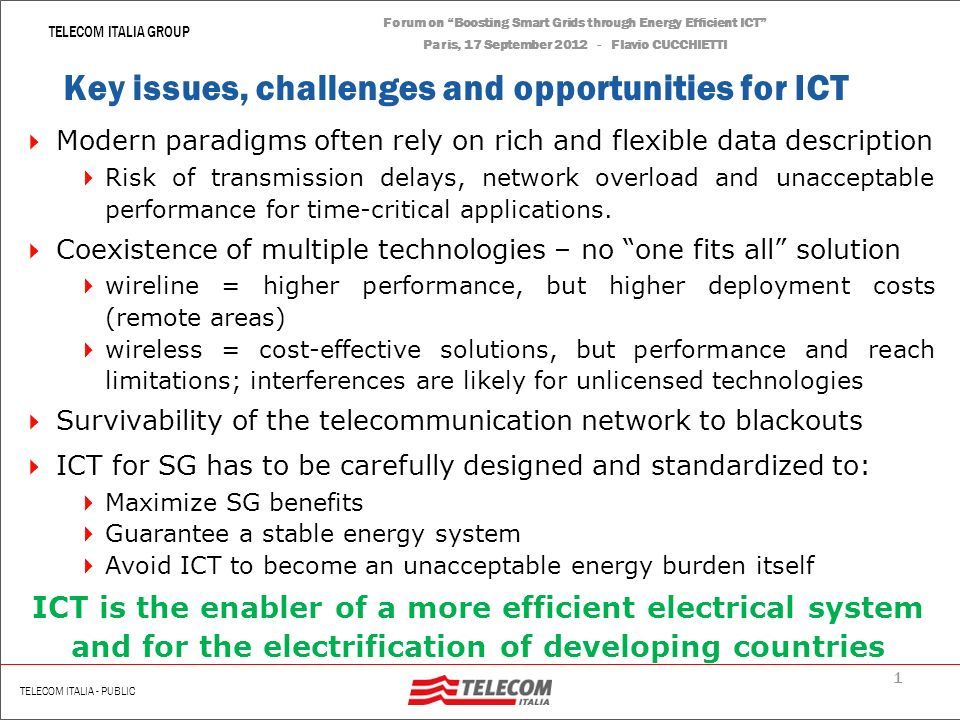 Forum on Boosting Smart Grids through Energy Efficient ICT Paris, 17 September 2012 Flavio CUCCHIETTI Energy Efficiency, Clean Power and the Smart Gri