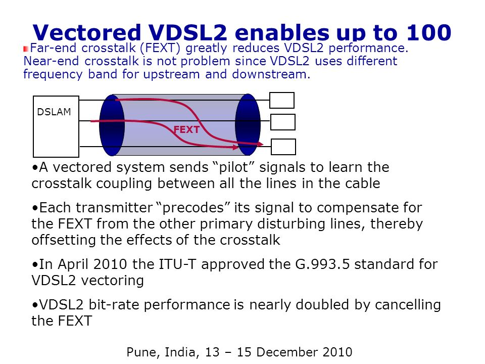 Vectored VDSL2 enables up to 100 Mb/s Far-end crosstalk (FEXT) greatly reduces VDSL2 performance. Near-end crosstalk is not problem since VDSL2 uses d