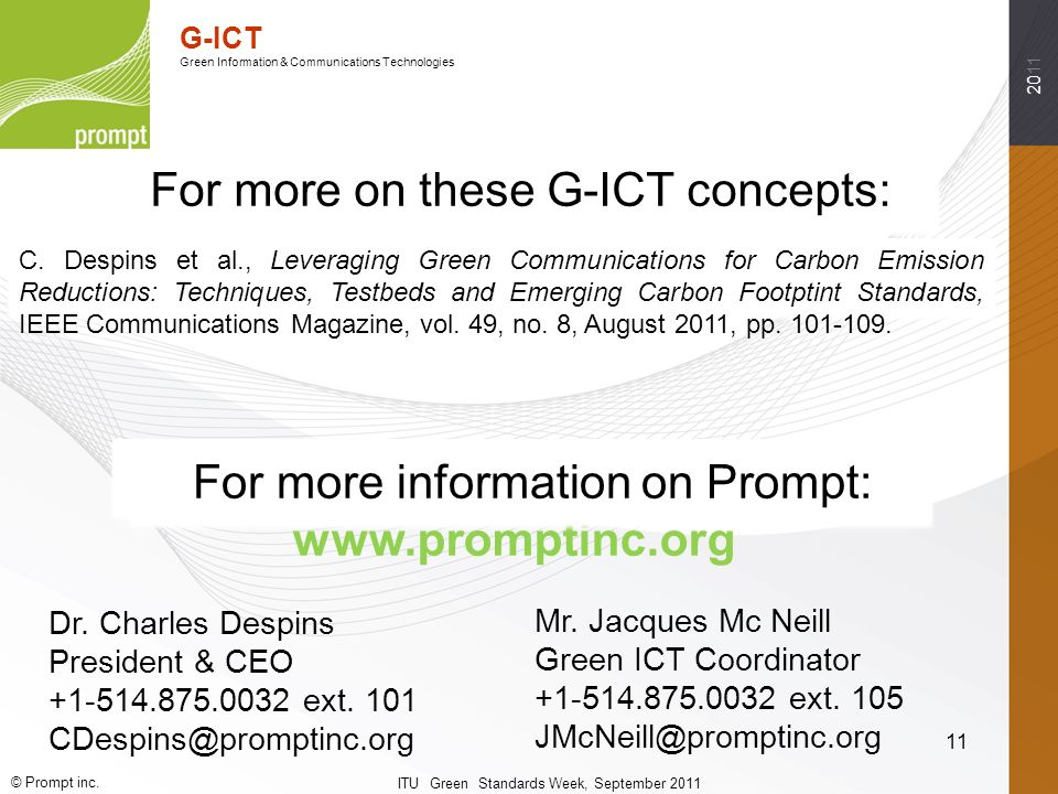 2011 The Power of Innovation G-ICT Green Information & Communications Technologies © Prompt inc.