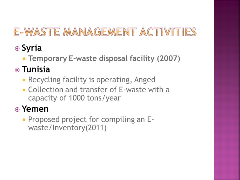 Syria Temporary E-waste disposal facility (2007) Tunisia Recycling facility is operating, Anged Collection and transfer of E-waste with a capacity of 1000 tons/year Yemen Proposed project for compiling an E- waste/Inventory(2011)