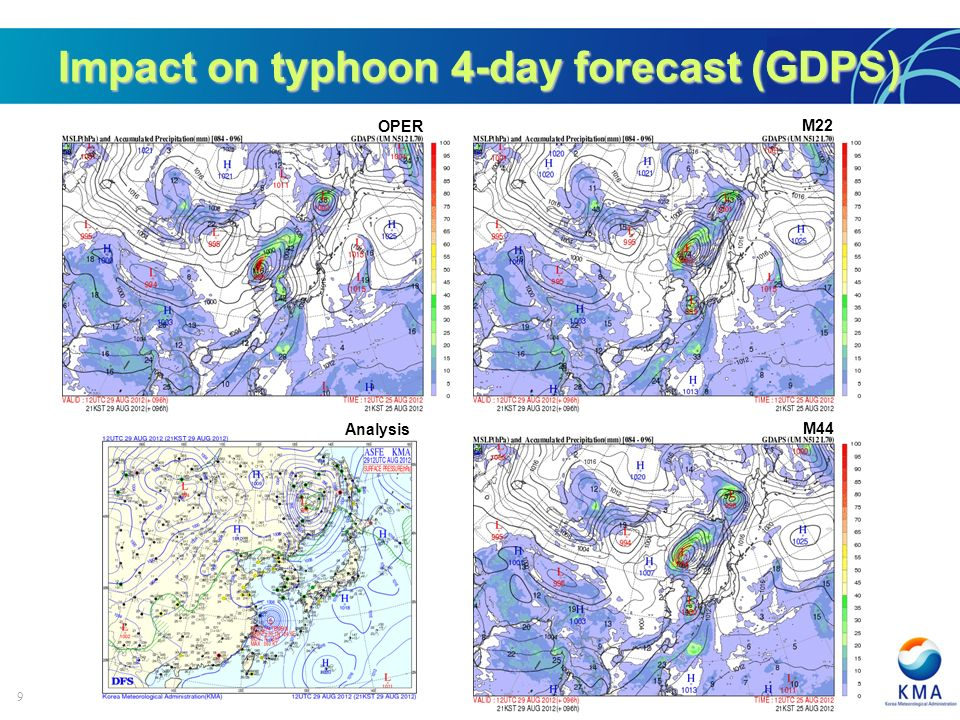 9 Impact on typhoon 4-day forecast (GDPS) OPER M22 Analysis M44