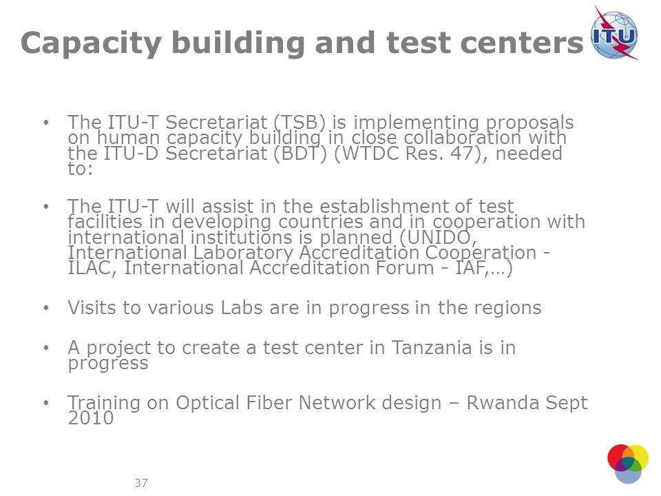 37 Capacity building and test centers The ITU-T Secretariat (TSB) is implementing proposals on human capacity building in close collaboration with the