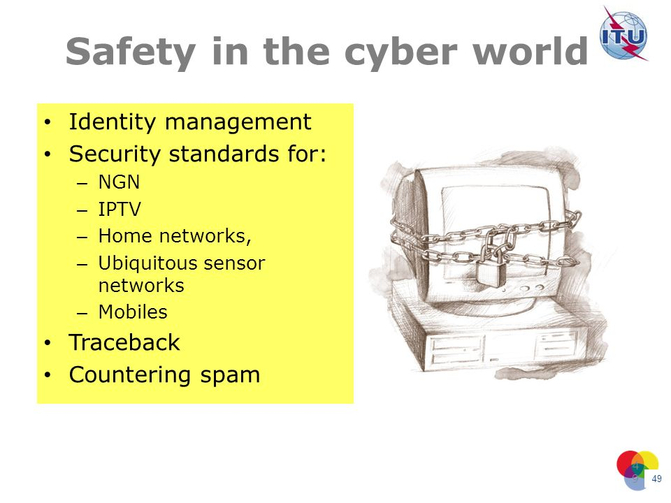 49 49 Safety in the cyber world Identity management Security standards for: – NGN – IPTV – Home networks, – Ubiquitous sensor networks – Mobiles Trace