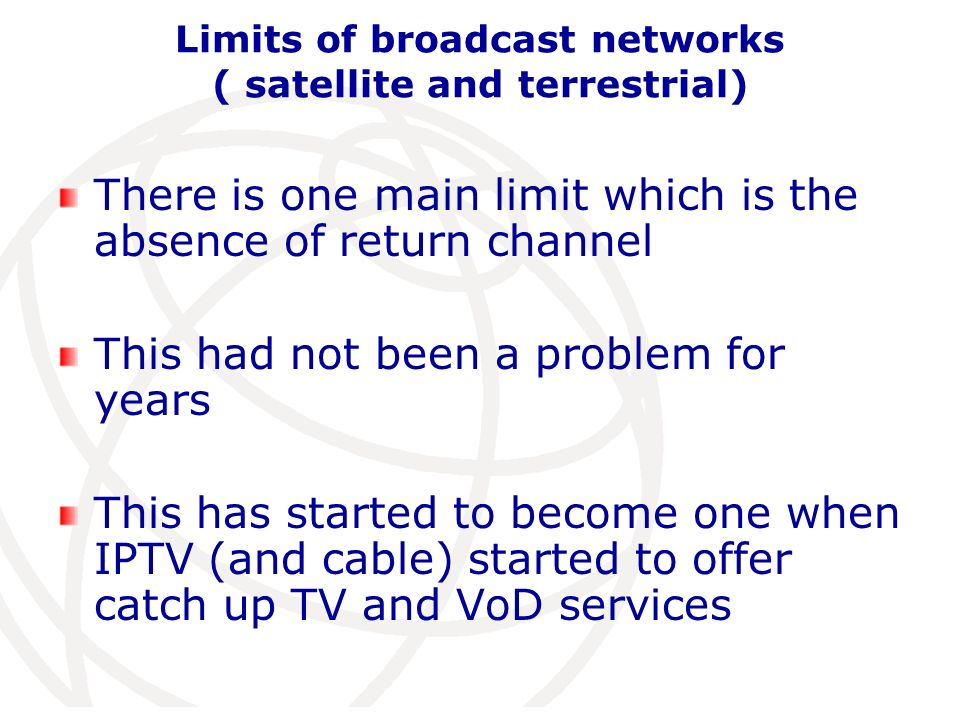 How service providers via IPTV networks are now reacting Ending unlimited access and billing depending on consumption rationale:5% of users are responsible of 80% of traffic Developping cooperation with… broadcast networks!