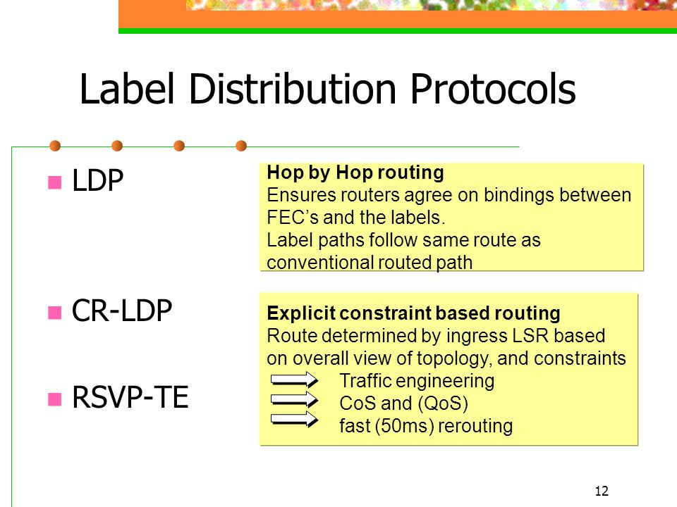 12 Label Distribution Protocols LDP CR-LDP RSVP-TE Hop by Hop routing Ensures routers agree on bindings between FECs and the labels. Label paths follo