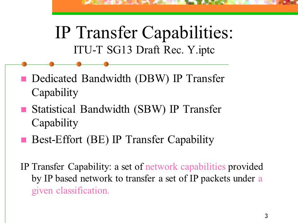 3 IP Transfer Capabilities: ITU-T SG13 Draft Rec. Y.iptc Dedicated Bandwidth (DBW) IP Transfer Capability Statistical Bandwidth (SBW) IP Transfer Capa