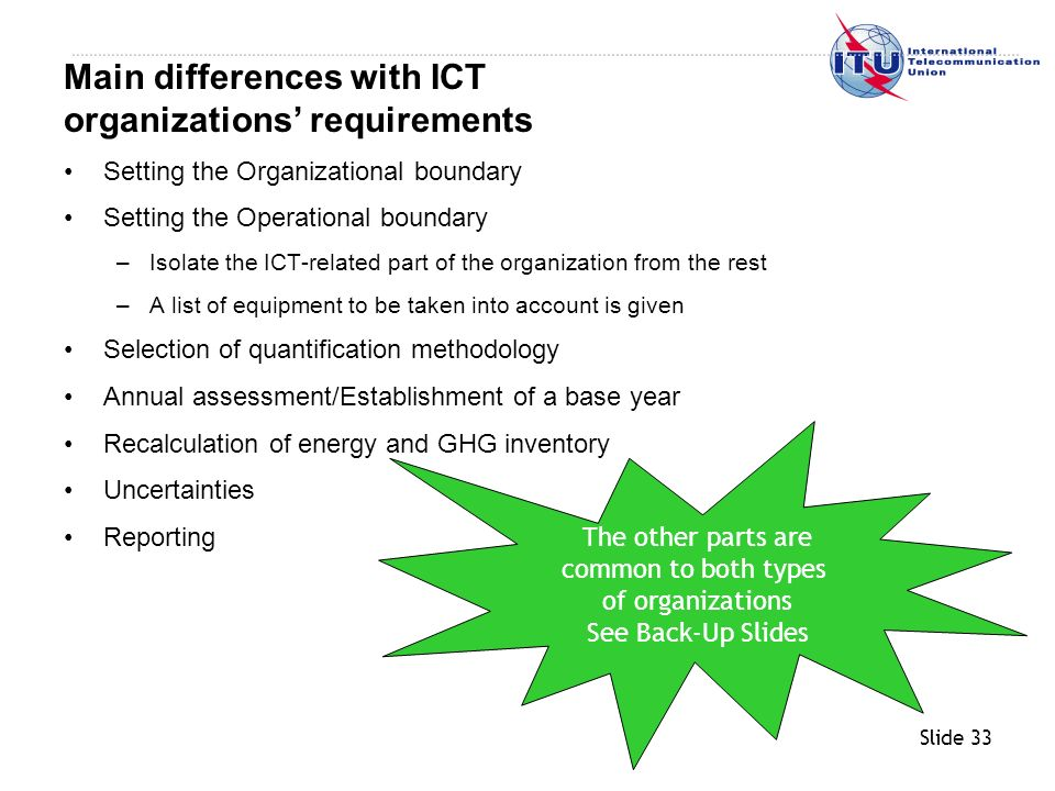 Slide 33 Setting the Organizational boundary Setting the Operational boundary –Isolate the ICT-related part of the organization from the rest –A list of equipment to be taken into account is given Selection of quantification methodology Annual assessment/Establishment of a base year Recalculation of energy and GHG inventory Uncertainties Reporting Main differences with ICT organizations requirements The other parts are common to both types of organizations See Back-Up Slides