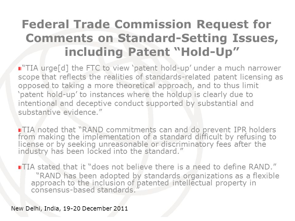 International Telecommunication Union Federal Trade Commission Request for Comments on Standard-Setting Issues, including Patent Hold-Up TIA urge[d] t