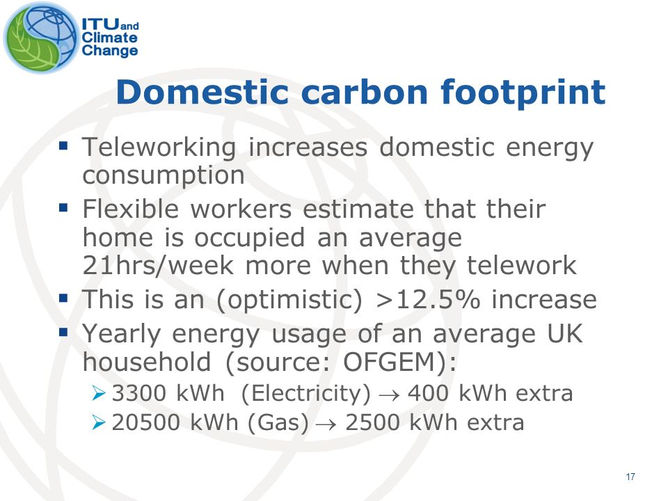 17 Domestic carbon footprint Teleworking increases domestic energy consumption Flexible workers estimate that their home is occupied an average 21hrs/week more when they telework This is an (optimistic) >12.5% increase Yearly energy usage of an average UK household (source: OFGEM): 3300 kWh (Electricity) 400 kWh extra 20500 kWh (Gas) 2500 kWh extra