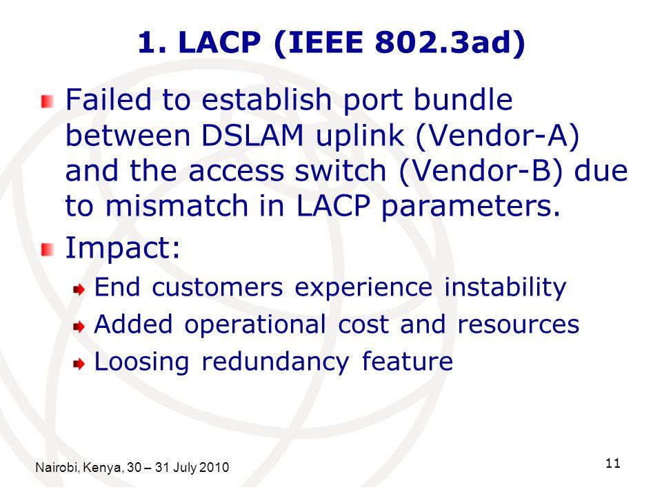 Nairobi, Kenya, 30 – 31 July 2010 11 1. LACP (IEEE 802.3ad) Failed to establish port bundle between DSLAM uplink (Vendor-A) and the access switch (Ven