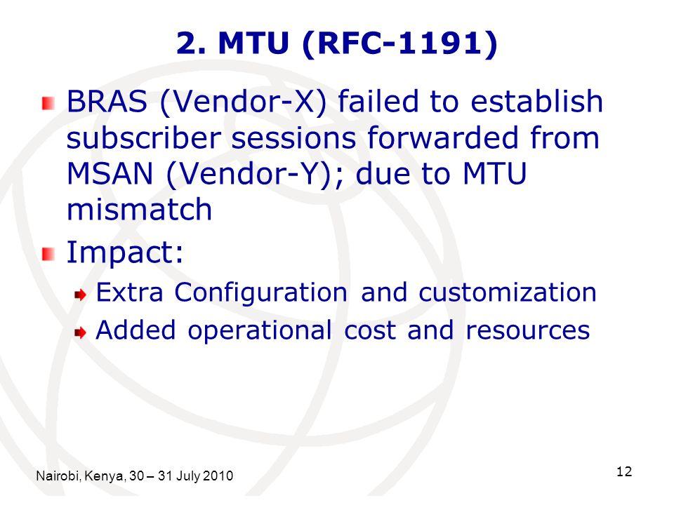 Nairobi, Kenya, 30 – 31 July 2010 12 2. MTU (RFC-1191) BRAS (Vendor-X) failed to establish subscriber sessions forwarded from MSAN (Vendor-Y); due to