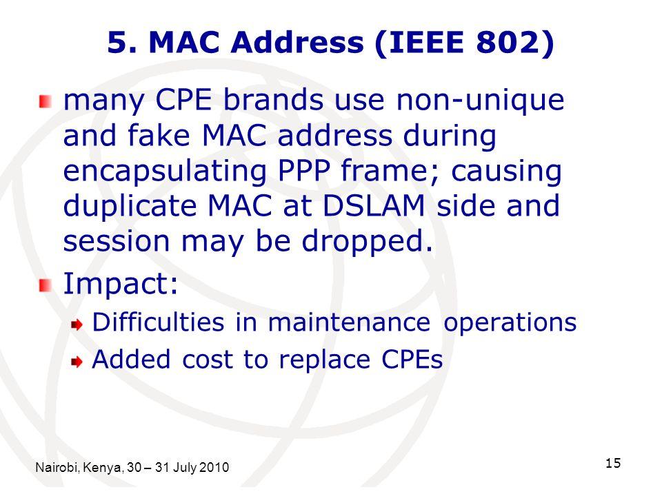 Nairobi, Kenya, 30 – 31 July 2010 15 5. MAC Address (IEEE 802) many CPE brands use non-unique and fake MAC address during encapsulating PPP frame; cau
