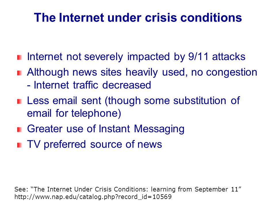 The Internet under crisis conditions Internet not severely impacted by 9/11 attacks Although news sites heavily used, no congestion - Internet traffic