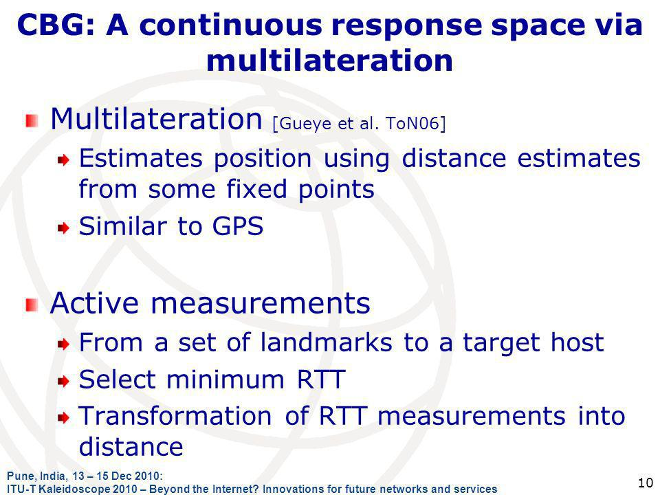 CBG: A continuous response space via multilateration Multilateration [Gueye et al. ToN06] Estimates position using distance estimates from some fixed