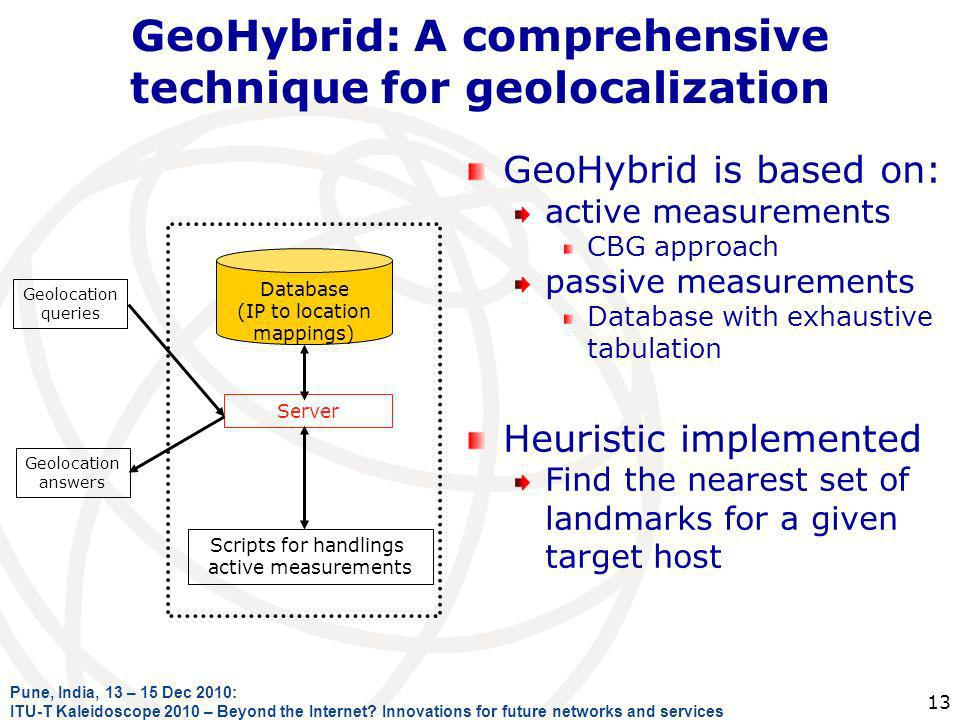 GeoHybrid: A comprehensive technique for geolocalization GeoHybrid is based on: active measurements CBG approach passive measurements Database with ex