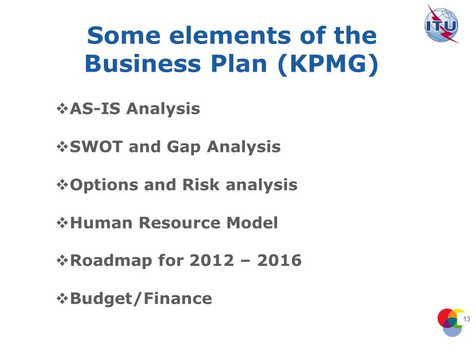 Some elements of the Business Plan (KPMG) 13 AS-IS Analysis SWOT and Gap Analysis Options and Risk analysis Human Resource Model Roadmap for 2012 – 2016 Budget/Finance