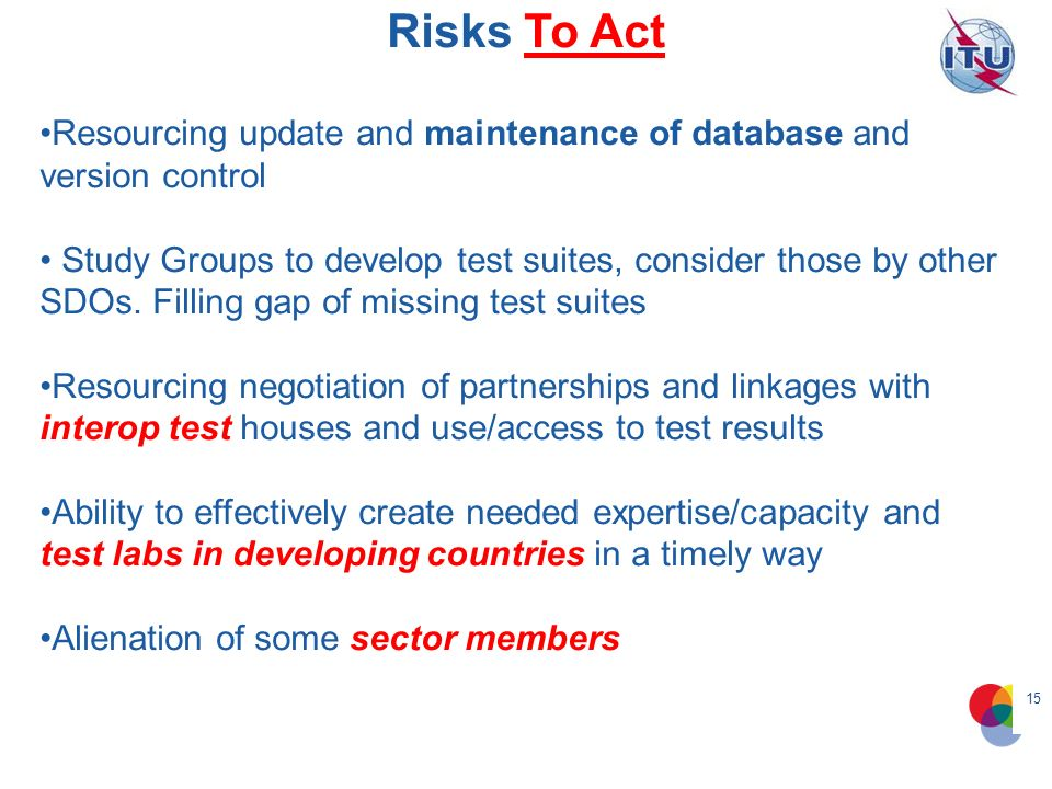 15 Risks To Act Resourcing update and maintenance of database and version control Study Groups to develop test suites, consider those by other SDOs.