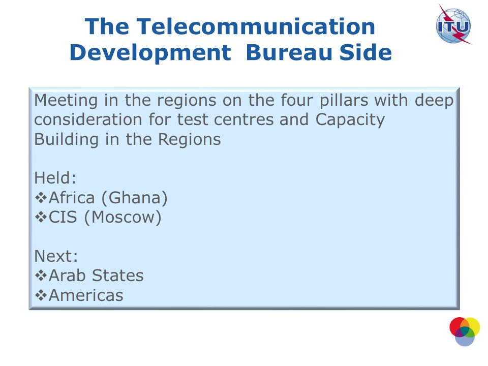 The Telecommunication Development Bureau Side Meeting in the regions on the four pillars with deep consideration for test centres and Capacity Building in the Regions Held: Africa (Ghana) CIS (Moscow) Next: Arab States Americas
