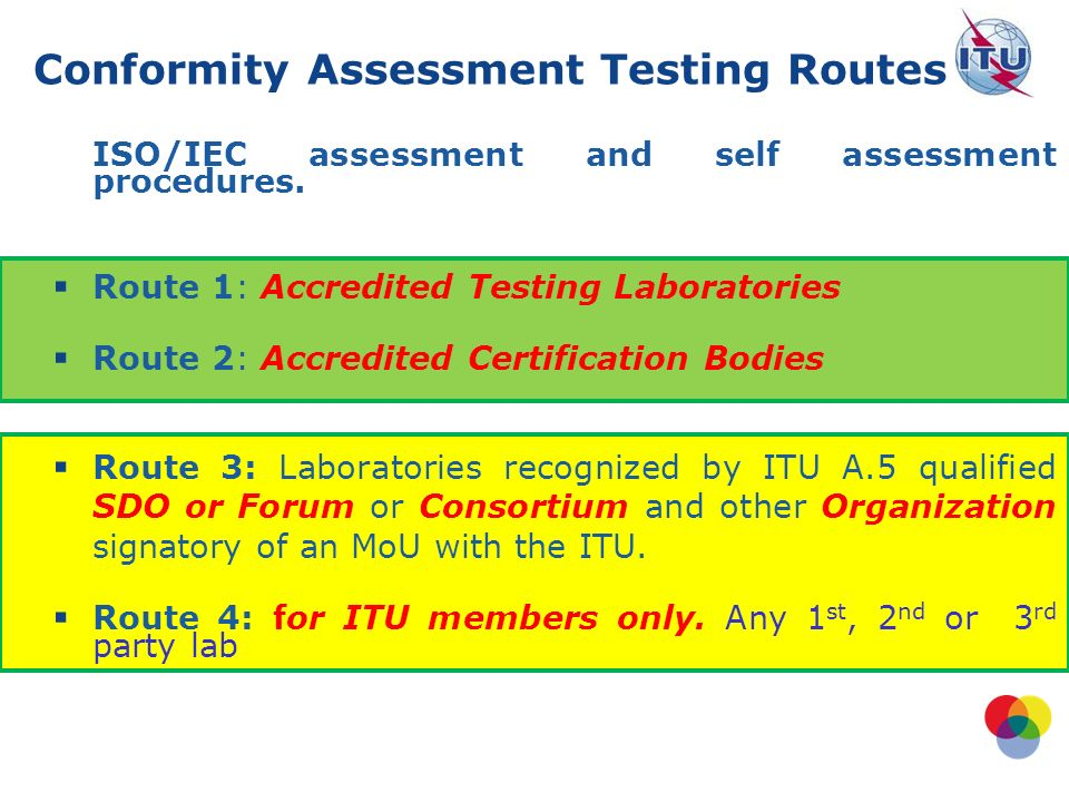 ISO/IEC assessment and self assessment procedures.