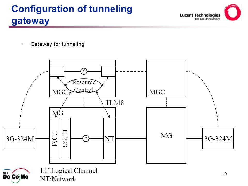 19 Configuration of tunneling gateway Gateway for tunneling MG TDM LC:Logical Channel NT:Network NT MGC * 3G-324M MG Resource Control H.223 H.248 * MGC 3G-324M