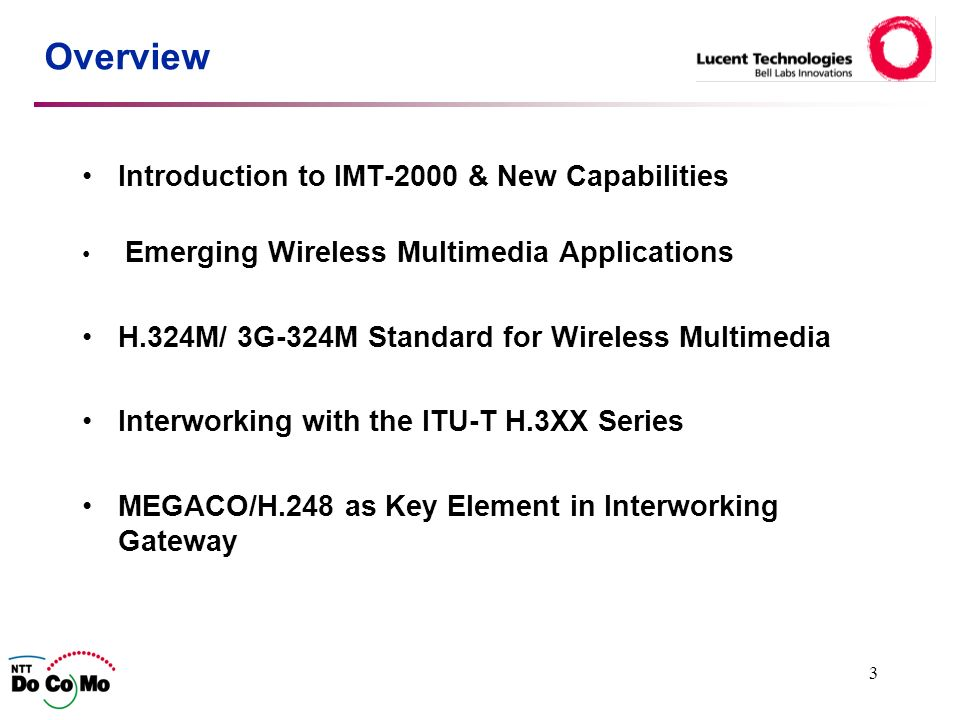3 Overview Introduction to IMT-2000 & New Capabilities Emerging Wireless Multimedia Applications H.324M/ 3G-324M Standard for Wireless Multimedia Interworking with the ITU-T H.3XX Series MEGACO/H.248 as Key Element in Interworking Gateway