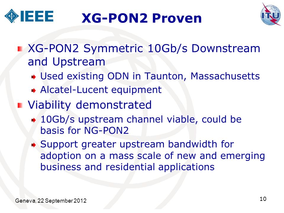 XG-PON2 Proven XG-PON2 Symmetric 10Gb/s Downstream and Upstream Used existing ODN in Taunton, Massachusetts Alcatel-Lucent equipment Viability demonst