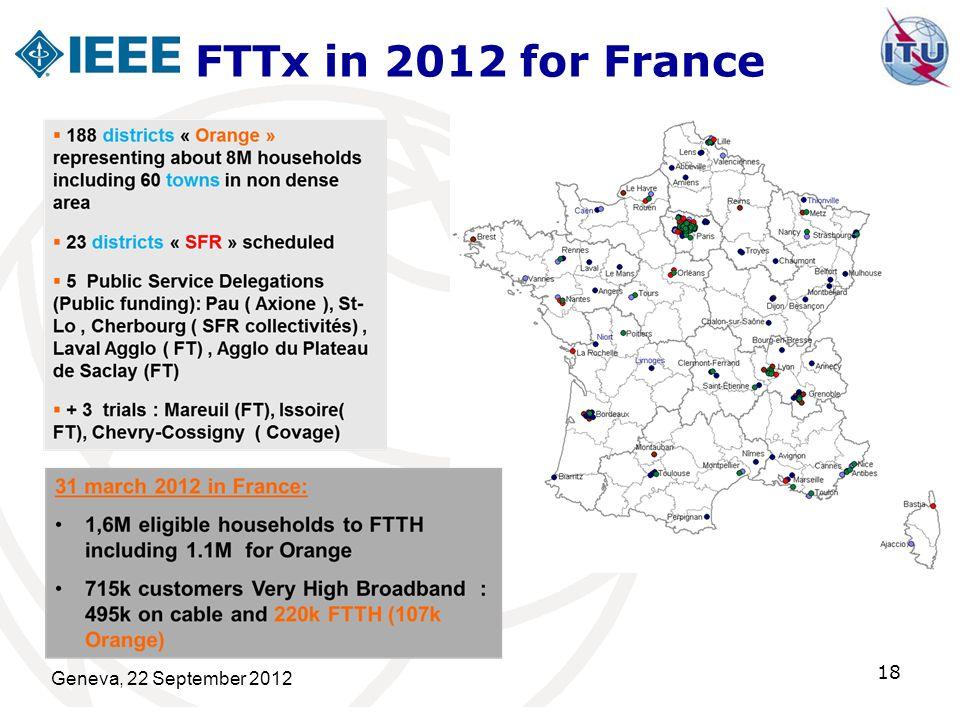 FTTx in 2012 for France Geneva, 22 September 2012 18