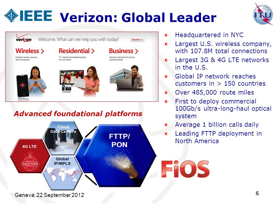 Verizon: Global Leader Headquartered in NYC Largest U.S. wireless company, with 107.8M total connections Largest 3G & 4G LTE networks in the U.S. Glob