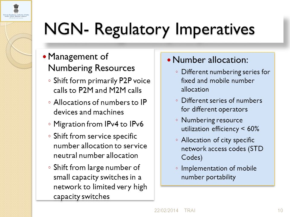 NGN- Regulatory Imperatives 22/02/201410TRAI