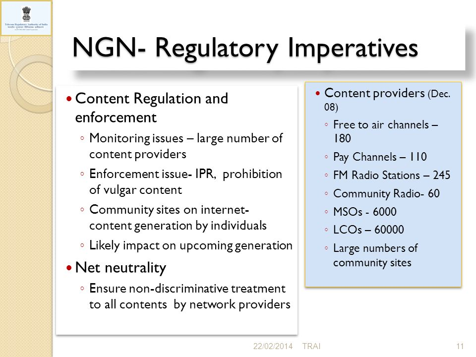 NGN- Regulatory Imperatives 22/02/201411TRAI
