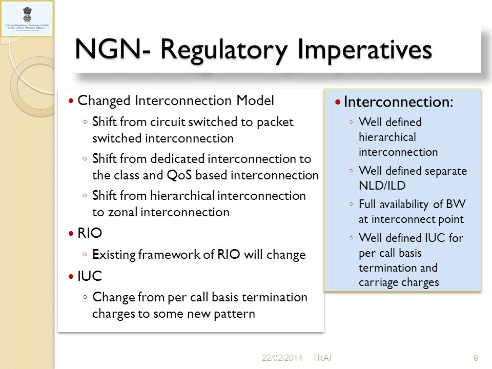 NGN- Regulatory Imperatives 22/02/20149TRAI