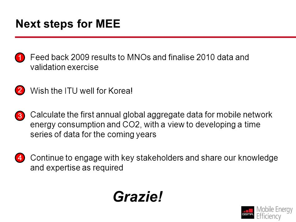 Next steps for MEE Feed back 2009 results to MNOs and finalise 2010 data and validation exercise Wish the ITU well for Korea.
