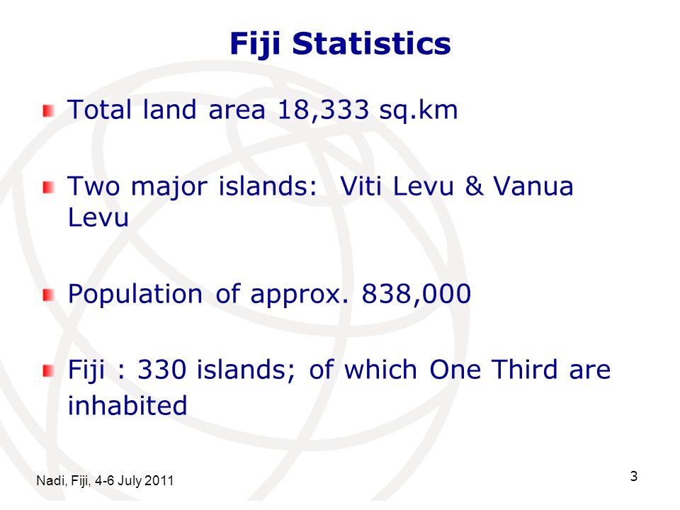 Nadi, Fiji, 4-6 July 2011 3 Fiji Statistics Total land area 18,333 sq.km Two major islands: Viti Levu & Vanua Levu Population of approx. 838,000 Fiji