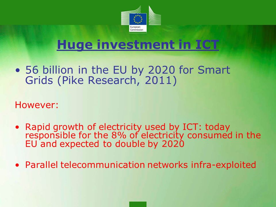 Huge investment in ICT 56 billion in the EU by 2020 for Smart Grids (Pike Research, 2011) However: Rapid growth of electricity used by ICT: today responsible for the 8% of electricity consumed in the EU and expected to double by 2020 Parallel telecommunication networks infra-exploited