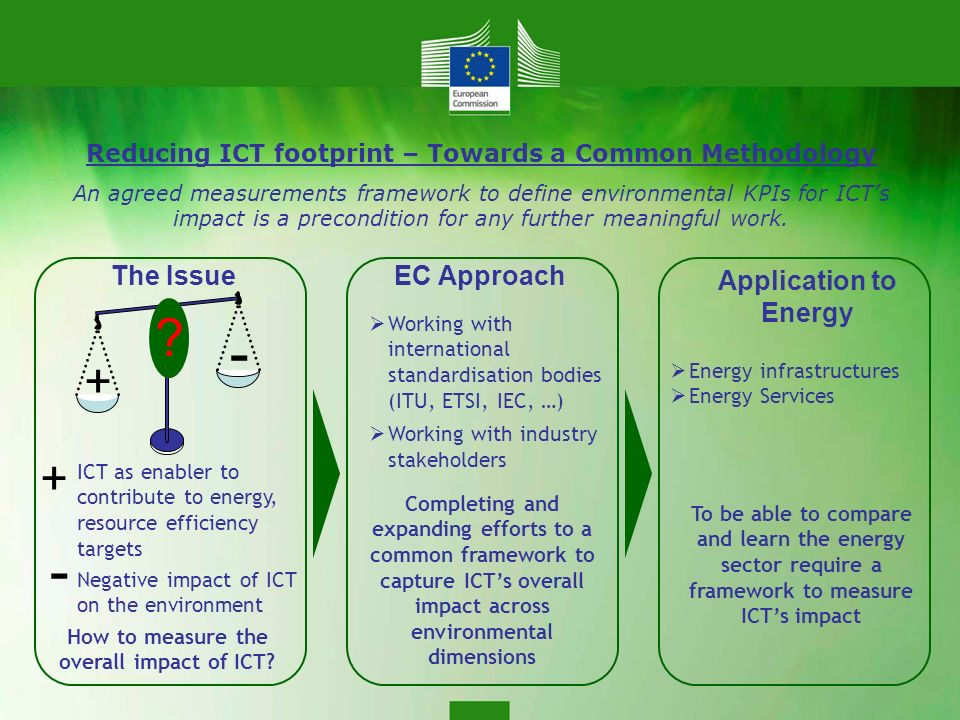 Reducing ICT footprint – Towards a Common Methodology An agreed measurements framework to define environmental KPIs for ICTs impact is a precondition for any further meaningful work.