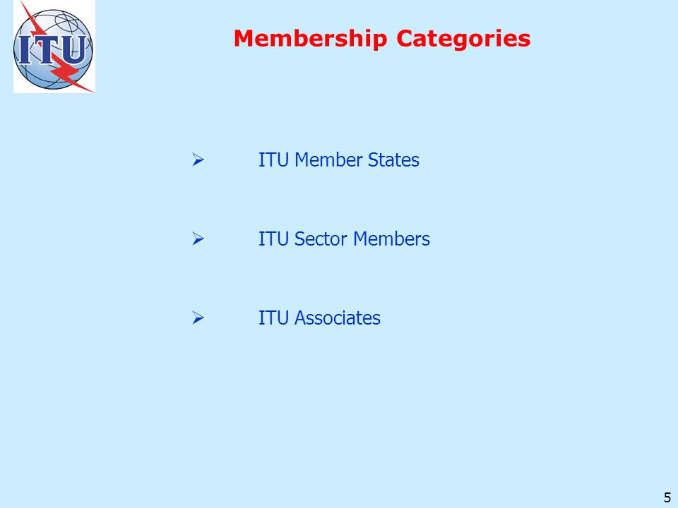 5 Membership Categories ITU Member States ITU Sector Members ITU Associates
