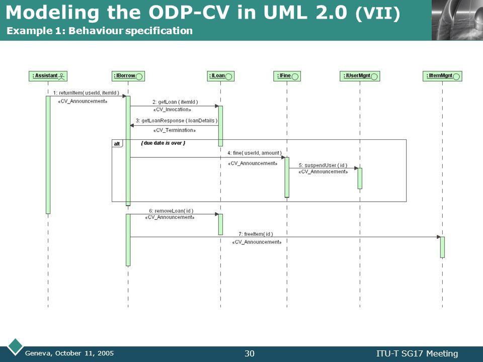 LOGO Geneva, October 11, 2005 ITU-T SG17 Meeting30 Modeling the ODP-CV in UML 2.0 (VII) Example 1: Behaviour specification